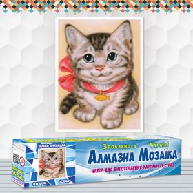 Алмазна вишивка (набір) Кошеня з бантом