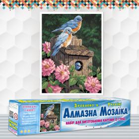 Алмазна вишивка (набір) Пташиний будинок в піонах
