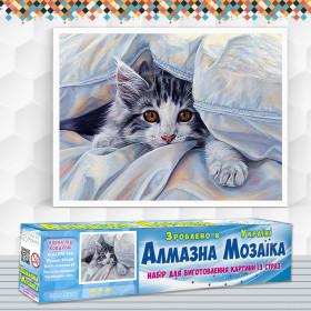 Алмазна вишивка (набір) Кішка під ковдрою