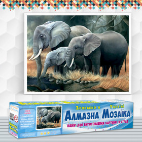 Алмазна вишивка (набір) Сім'я слонів