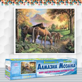 Алмазна вишивка (набір) Сім'я коней