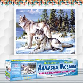 Алмазна вишивка (набір) Пара вовків