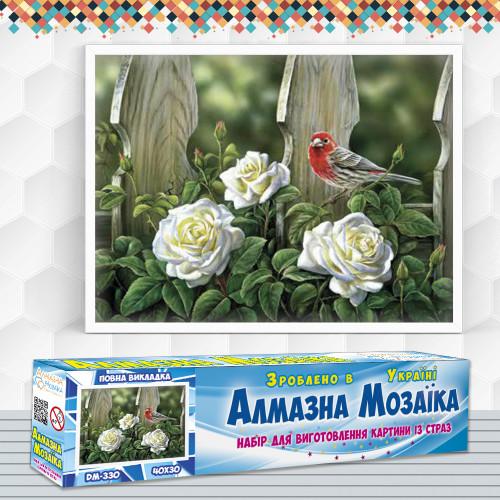 Алмазна вишивка (набір) Птах на садових трояндах