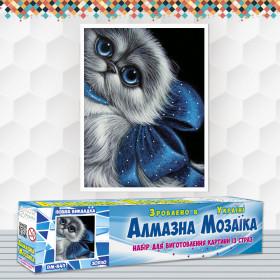 Алмазна вишивка (набір) Кошеня з синім бантом