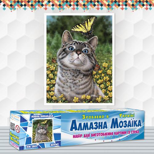 Алмазна вишивка (набір) Кіт з метеликом