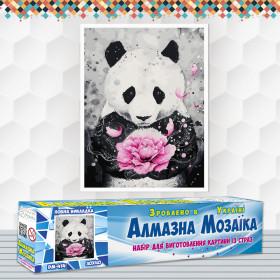Алмазна вишивка (набір) Панда з квіткою
