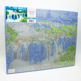 Алмазна вишивка (набір) на підрамнику Мальовничий водоспад